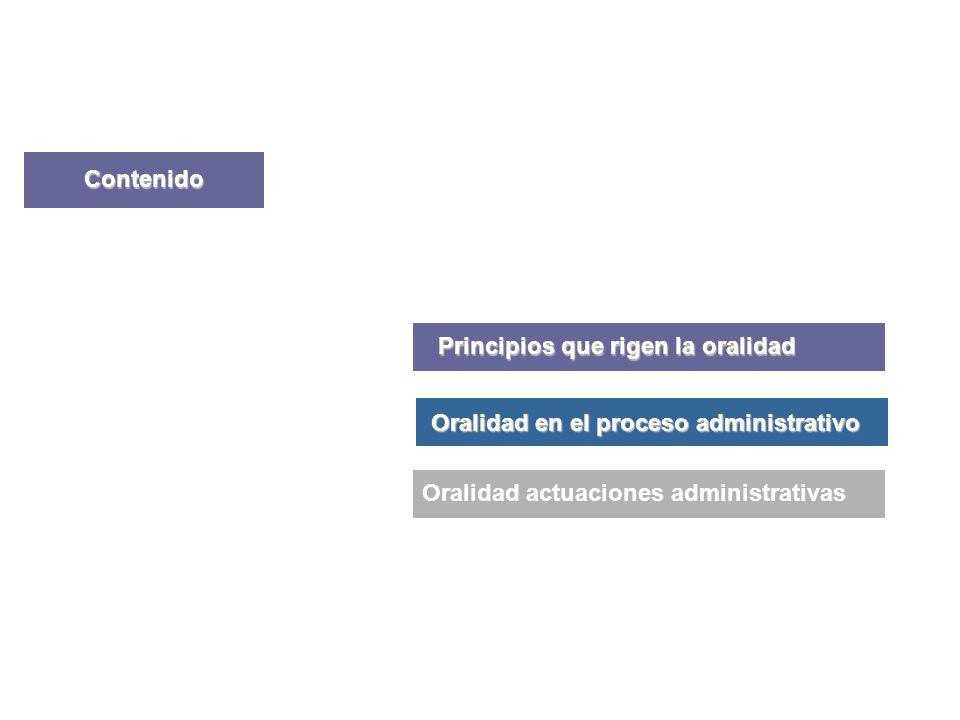 Contenido Principios que rigen la oralidad Presentación General Oralidad en el proceso administrativo Oralidad actuaciones administrativas