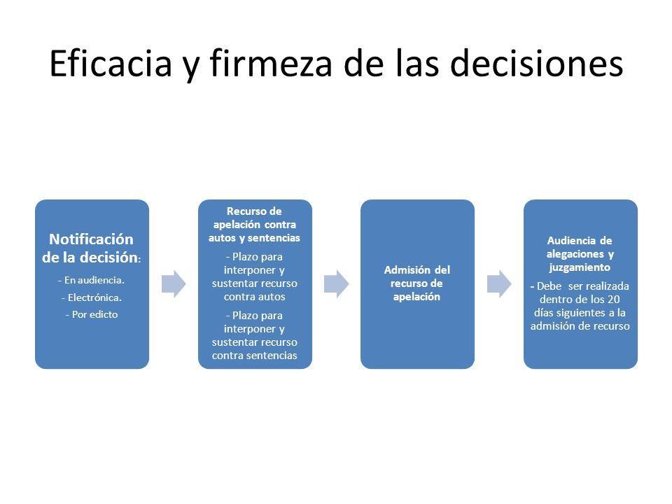 Eficacia y firmeza de las decisiones Notificación de la decisión : - En audiencia. - Electrónica. - Por edicto Recurso de apelación contra autos y sen