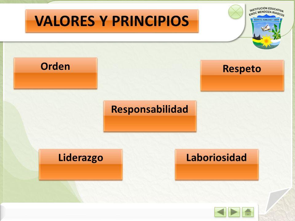 VALORES Y PRINCIPIOS Responsabilidad Orden Respeto Liderazgo Laboriosidad