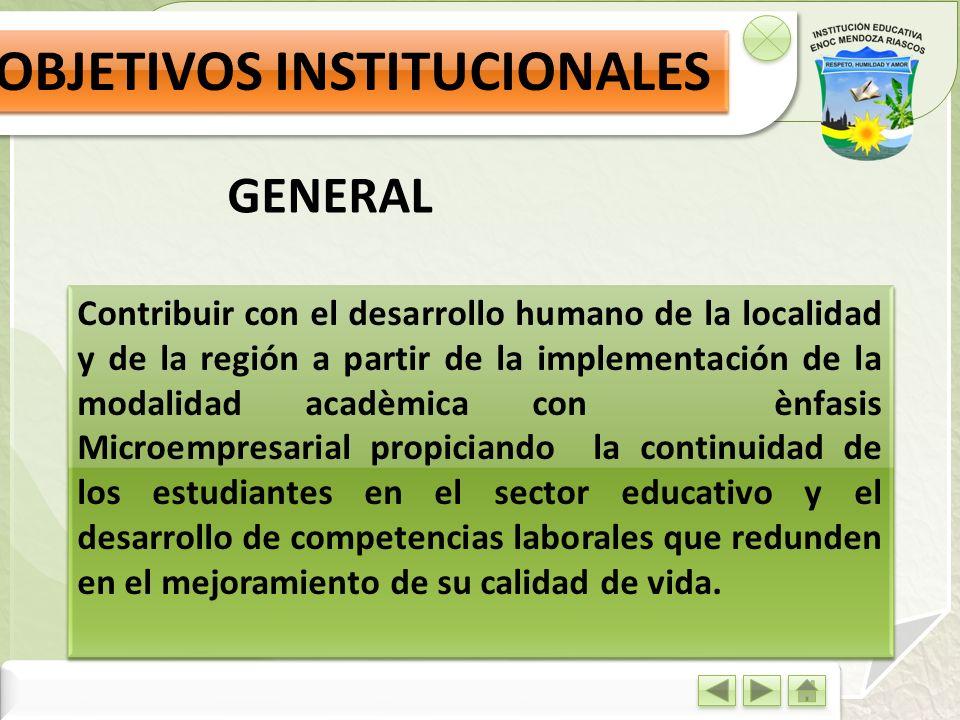 Contribuir con el desarrollo humano de la localidad y de la región a partir de la implementación de la modalidad acadèmica con ènfasis Microempresaria