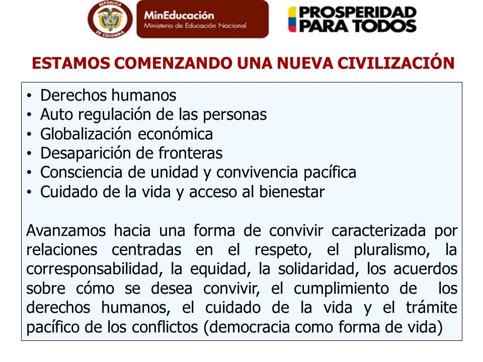 ESTAMOS COMENZANDO UNA NUEVA CIVILIZACIÓN Derechos humanos Auto regulación de las personas Globalización económica Desaparición de fronteras Conscienc