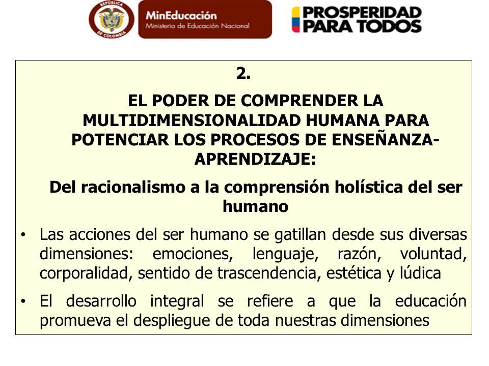 2. EL PODER DE COMPRENDER LA MULTIDIMENSIONALIDAD HUMANA PARA POTENCIAR LOS PROCESOS DE ENSEÑANZA- APRENDIZAJE: Del racionalismo a la comprensión holí