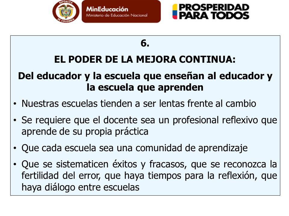 6. EL PODER DE LA MEJORA CONTINUA: Del educador y la escuela que enseñan al educador y la escuela que aprenden Nuestras escuelas tienden a ser lentas