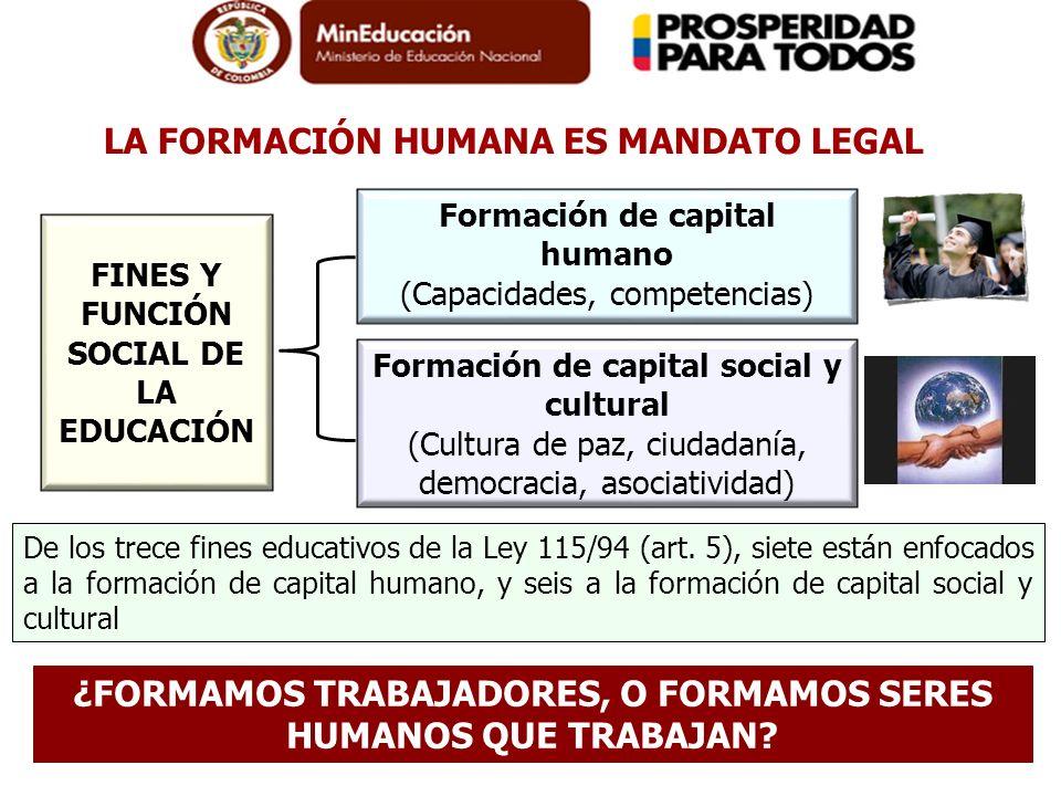 FINES Y FUNCIÓN SOCIAL DE LA EDUCACIÓN Formación de capital humano (Capacidades, competencias) Formación de capital social y cultural (Cultura de paz,