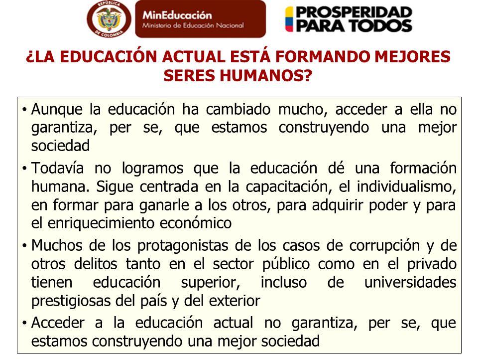 ¿LA EDUCACIÓN ACTUAL ESTÁ FORMANDO MEJORES SERES HUMANOS? Aunque la educación ha cambiado mucho, acceder a ella no garantiza, per se, que estamos cons