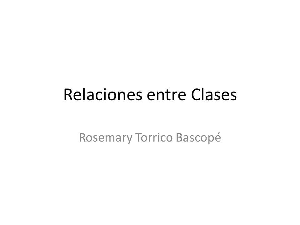 Relación de Dependencia… Una clase depende de otra, cuando: uno de los parámetros o el tipo de retorno de cualquiera de los métodos de la clase dependiente es del tipo de la clase independiente.