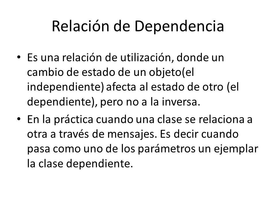 Relación de Dependencia Es una relación de utilización, donde un cambio de estado de un objeto(el independiente) afecta al estado de otro (el dependie