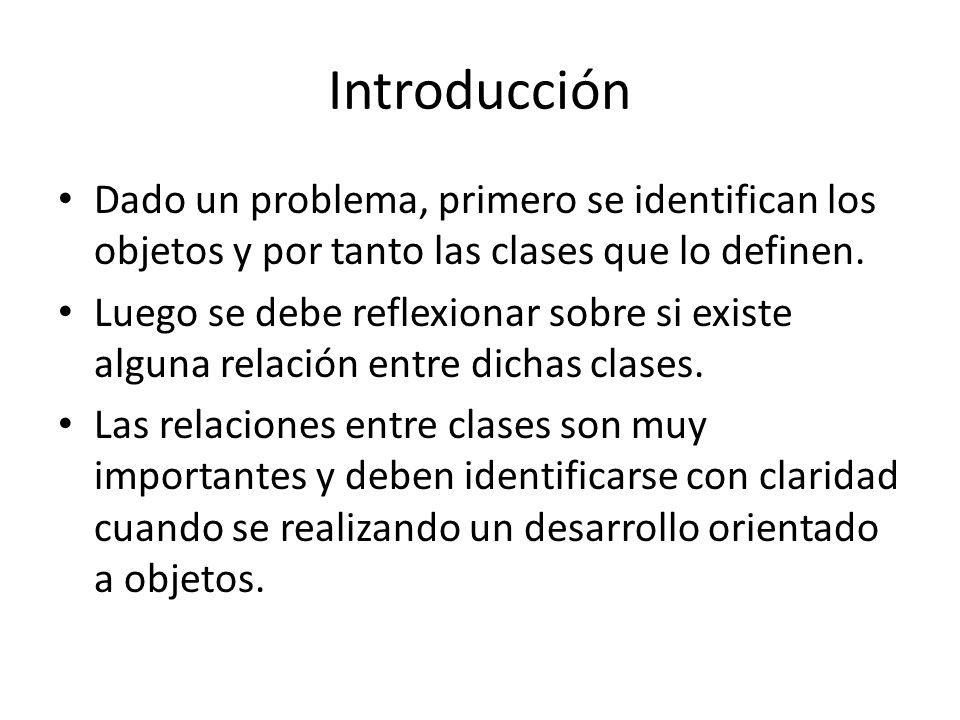 Introducción Dado un problema, primero se identifican los objetos y por tanto las clases que lo definen. Luego se debe reflexionar sobre si existe alg