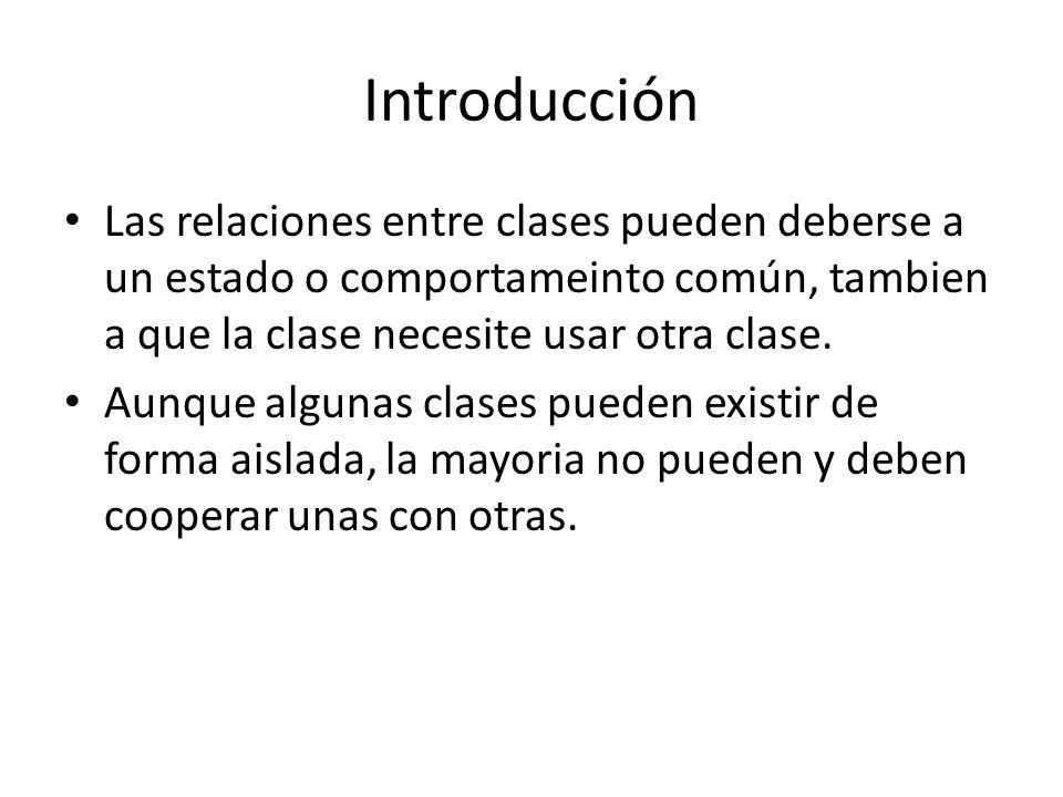 Introducción Las relaciones entre clases pueden deberse a un estado o comportameinto común, tambien a que la clase necesite usar otra clase. Aunque al