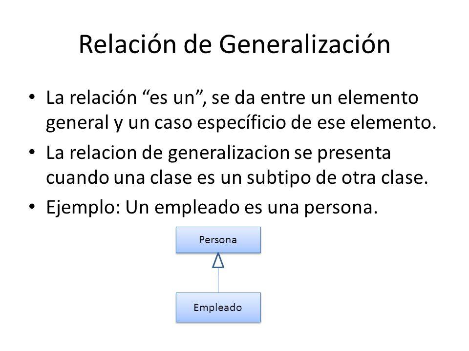 Relación de Generalización La relación es un, se da entre un elemento general y un caso específicio de ese elemento. La relacion de generalizacion se