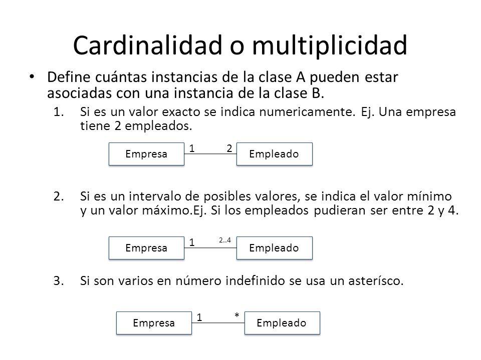 Cardinalidad o multiplicidad Define cuántas instancias de la clase A pueden estar asociadas con una instancia de la clase B. 1.Si es un valor exacto s