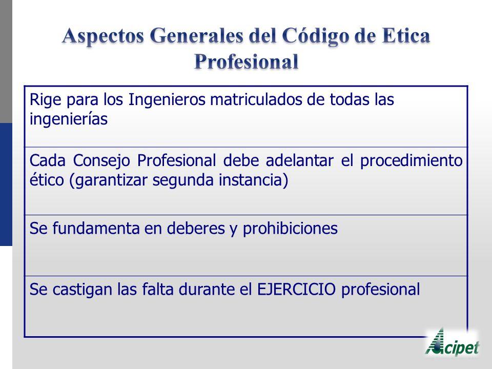 Rige para los Ingenieros matriculados de todas las ingenierías Cada Consejo Profesional debe adelantar el procedimiento ético (garantizar segunda instancia) Se fundamenta en deberes y prohibiciones Se castigan las falta durante el EJERCICIO profesional