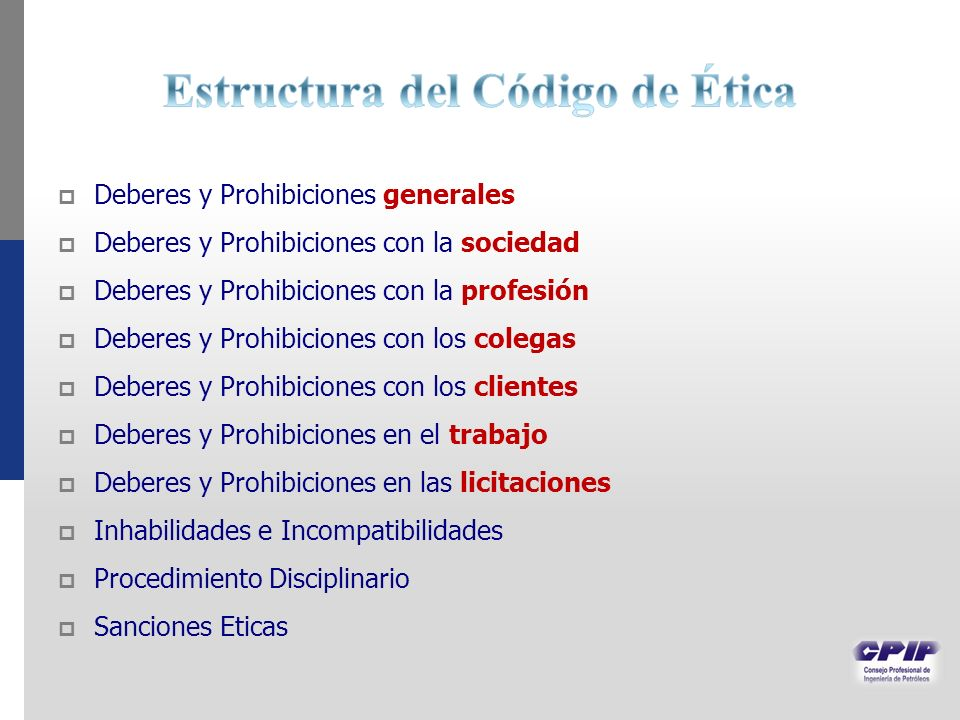 Deberes y Prohibiciones generales Deberes y Prohibiciones con la sociedad Deberes y Prohibiciones con la profesión Deberes y Prohibiciones con los col