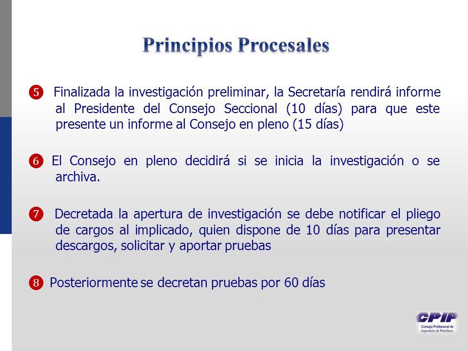 Finalizada la investigación preliminar, la Secretaría rendirá informe al Presidente del Consejo Seccional (10 días) para que este presente un informe al Consejo en pleno (15 días) El Consejo en pleno decidirá si se inicia la investigación o se archiva.