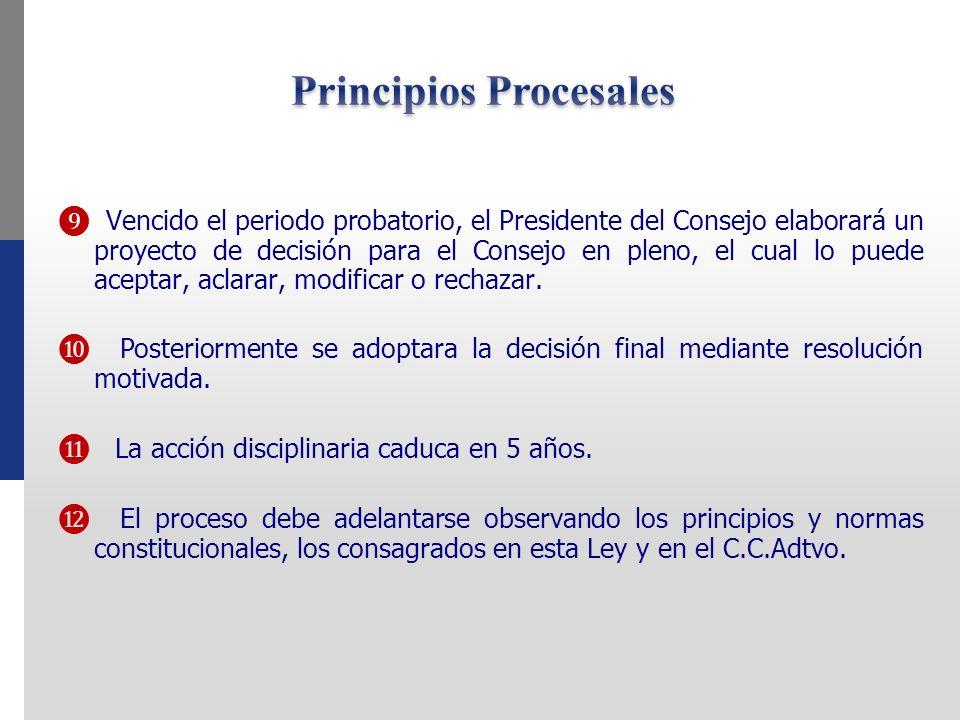 Vencido el periodo probatorio, el Presidente del Consejo elaborará un proyecto de decisión para el Consejo en pleno, el cual lo puede aceptar, aclarar, modificar o rechazar.