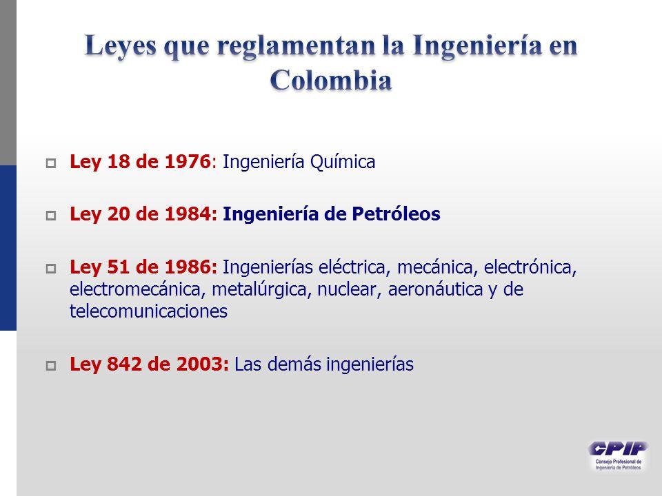 Ley 18 de 1976: Ingeniería Química Ley 20 de 1984: Ingeniería de Petróleos Ley 51 de 1986: Ingenierías eléctrica, mecánica, electrónica, electromecánica, metalúrgica, nuclear, aeronáutica y de telecomunicaciones Ley 842 de 2003: Las demás ingenierías