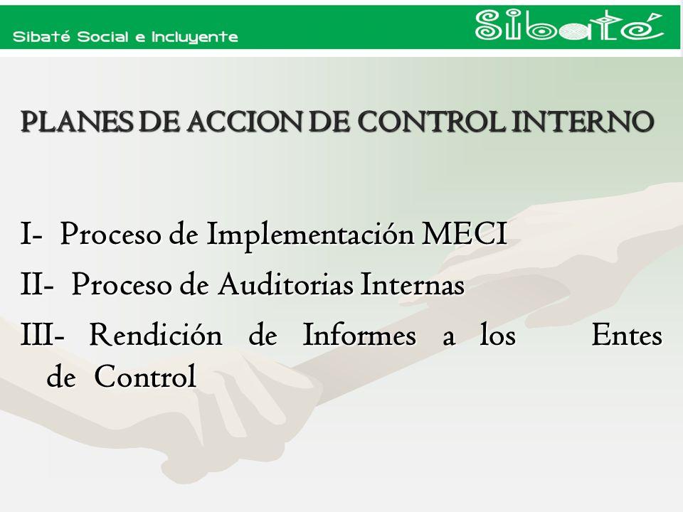 Para dar inicio al proceso del Modelo Estándar de Control Interno se debe tener en cuenta las siguientes fases: Para dar inicio al proceso del Modelo Estándar de Control Interno se debe tener en cuenta las siguientes fases: P 1- Planeación : Adoptar el Modelo P 1- Planeación : Adoptar el Modelo H 2- Implementación : Sensibilización H 2- Implementación : Sensibilización 3 - Normograma: Diseño 3 - Normograma: Diseño V-A 4- Evaluación : Plan de Auditorias V-A 4- Evaluación : Plan de Auditorias PLAN DE ACCION MECI