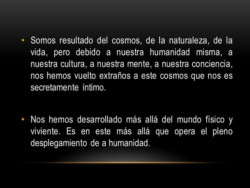 Somos resultado del cosmos, de la naturaleza, de la vida, pero debido a nuestra humanidad misma, a nuestra cultura, a nuestra mente, a nuestra concien