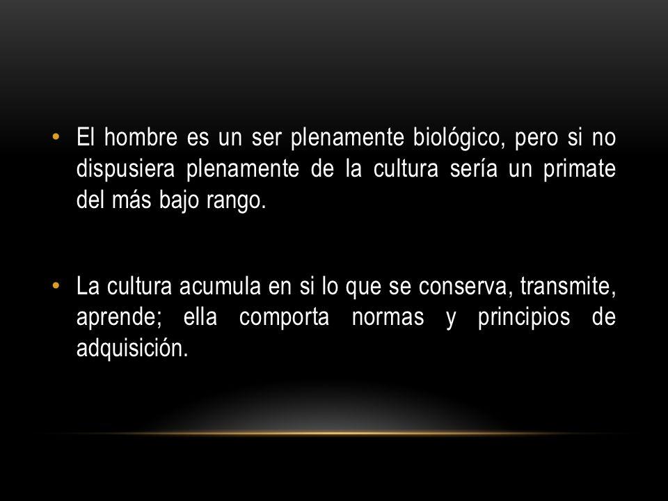 El hombre es un ser plenamente biológico, pero si no dispusiera plenamente de la cultura sería un primate del más bajo rango. La cultura acumula en si