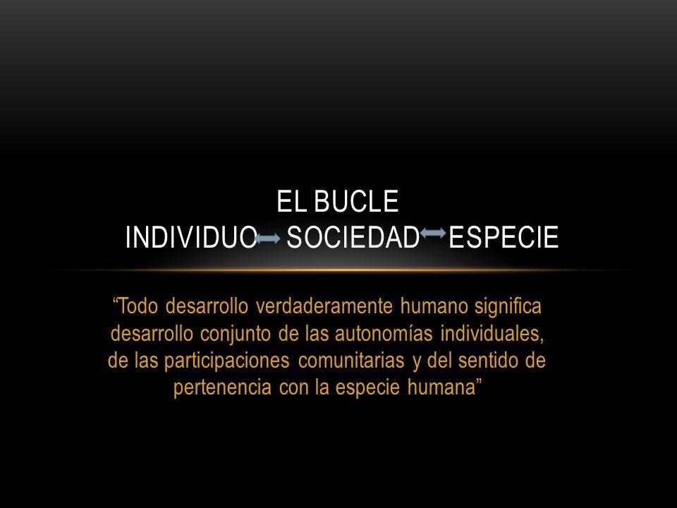 EL BUCLE INDIVIDUO SOCIEDAD ESPECIE Todo desarrollo verdaderamente humano significa desarrollo conjunto de las autonomías individuales, de las partici