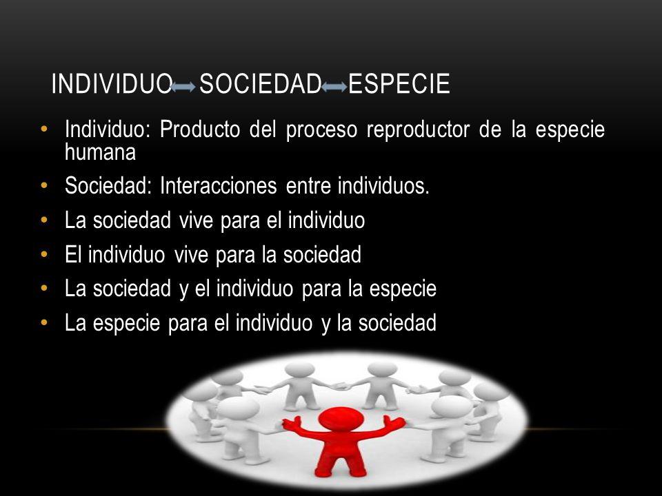 INDIVIDUO SOCIEDAD ESPECIE Individuo: Producto del proceso reproductor de la especie humana Sociedad: Interacciones entre individuos. La sociedad vive