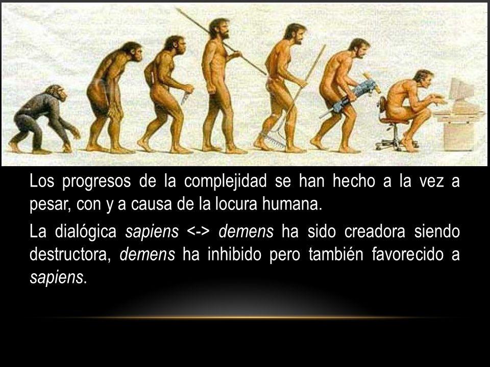 Los progresos de la complejidad se han hecho a la vez a pesar, con y a causa de la locura humana. La dialógica sapiens demens ha sido creadora siendo