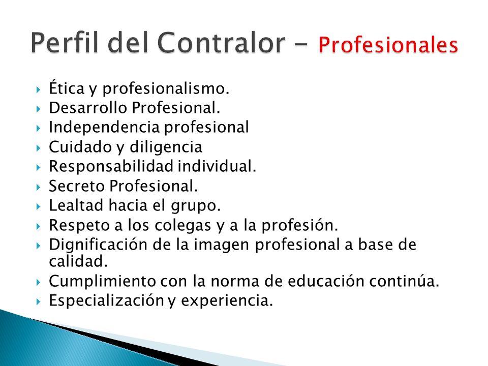 Ética y profesionalismo. Desarrollo Profesional. Independencia profesional Cuidado y diligencia Responsabilidad individual. Secreto Profesional. Lealt