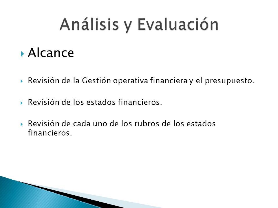 Alcance Revisión de la Gestión operativa financiera y el presupuesto. Revisión de los estados financieros. Revisión de cada uno de los rubros de los e