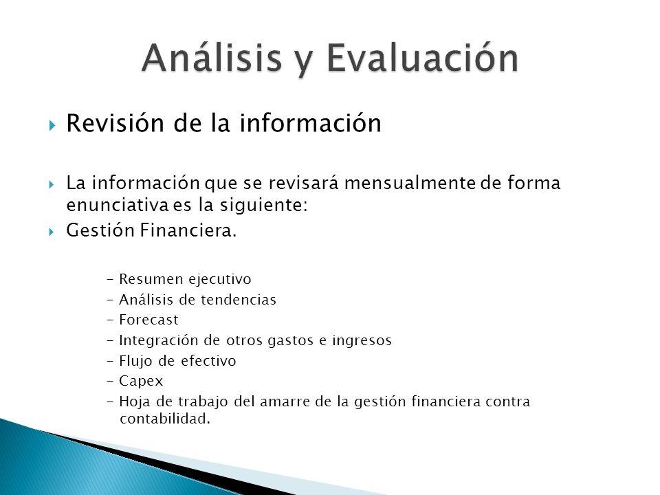 Revisión de la información La información que se revisará mensualmente de forma enunciativa es la siguiente: Gestión Financiera. - Resumen ejecutivo -