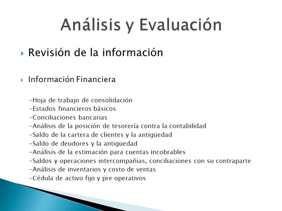 Revisión de la información Información Financiera -Hoja de trabajo de consolidación -Estados financieros básicos -Conciliaciones bancarias -Análisis d