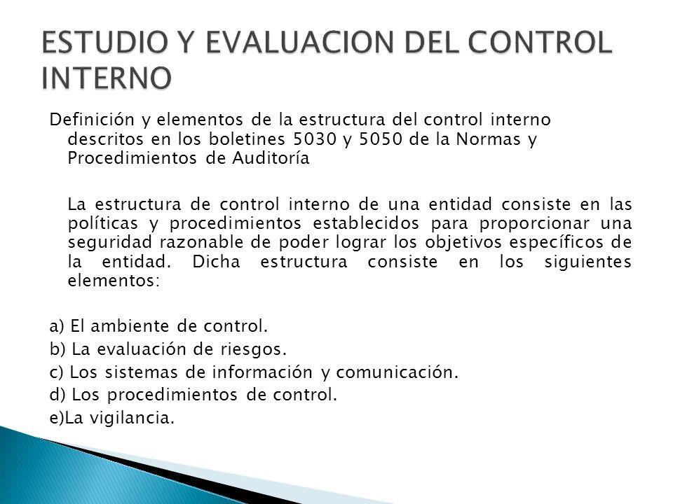 Definición y elementos de la estructura del control interno descritos en los boletines 5030 y 5050 de la Normas y Procedimientos de Auditoría La estru