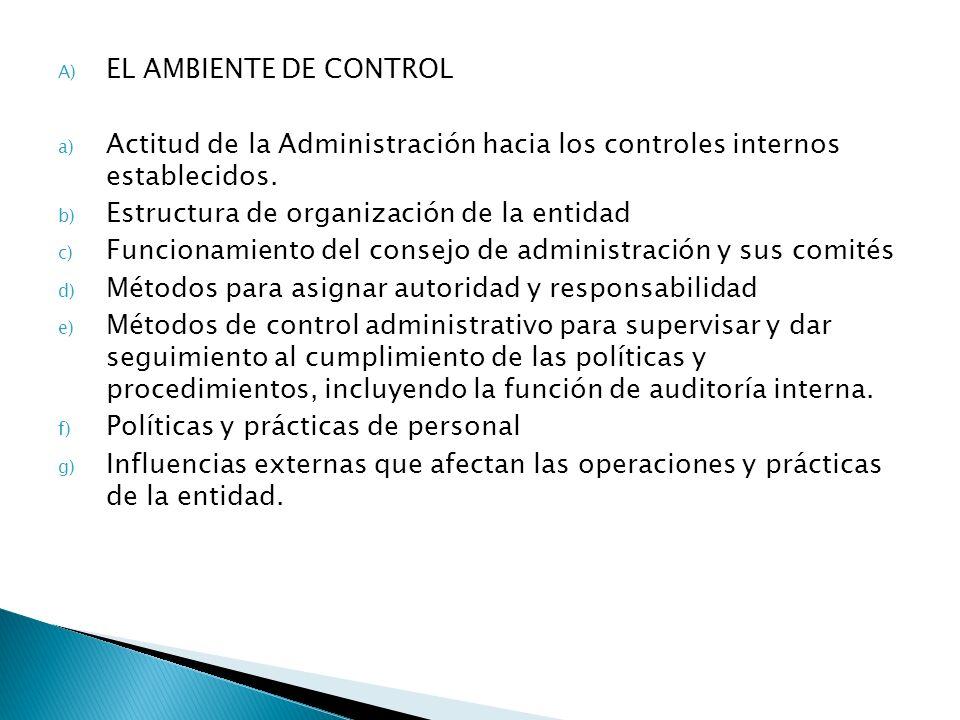 A) EL AMBIENTE DE CONTROL a) Actitud de la Administración hacia los controles internos establecidos. b) Estructura de organización de la entidad c) Fu