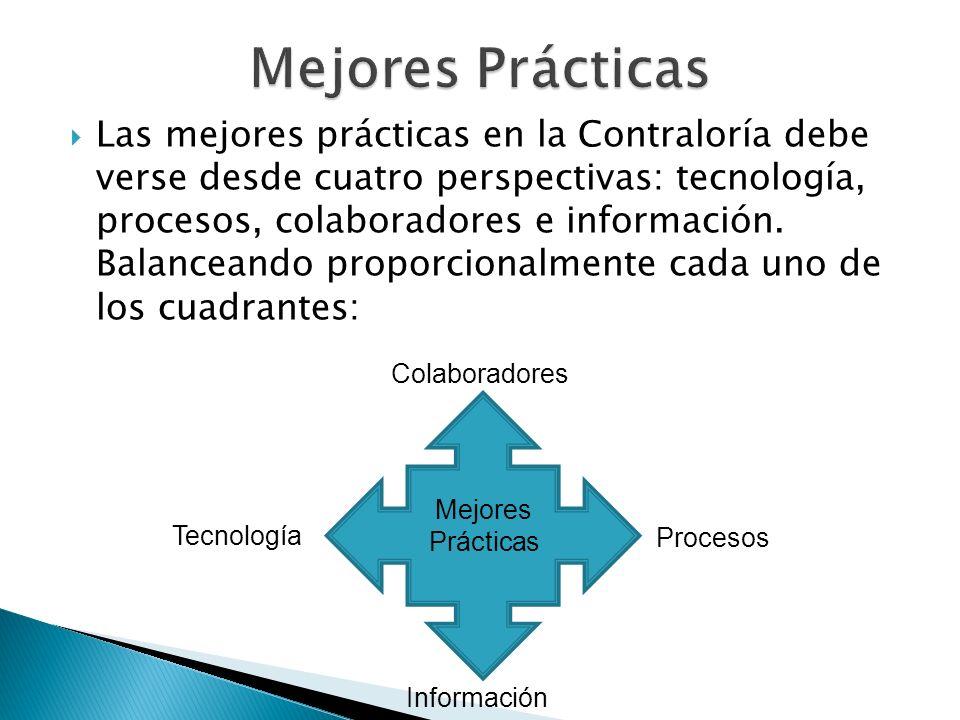 Las mejores prácticas en la Contraloría debe verse desde cuatro perspectivas: tecnología, procesos, colaboradores e información. Balanceando proporcio