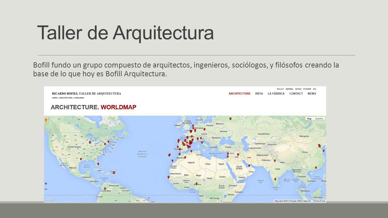 Taller de Arquitectura Bofill fundo un grupo compuesto de arquitectos, ingenieros, sociólogos, y filósofos creando la base de lo que hoy es Bofill Arq