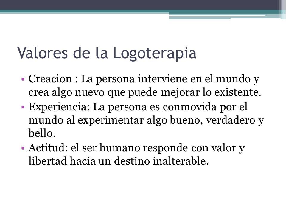 Valores de la Logoterapia Creacion : La persona interviene en el mundo y crea algo nuevo que puede mejorar lo existente. Experiencia: La persona es co