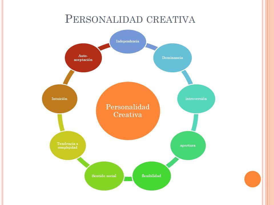 P ERSONALIDAD CREATIVA Personalidad Creativa Independencia DominanciaintroversiónaperturaflexibilidadSentido social Tendencia a complejidad Intuición