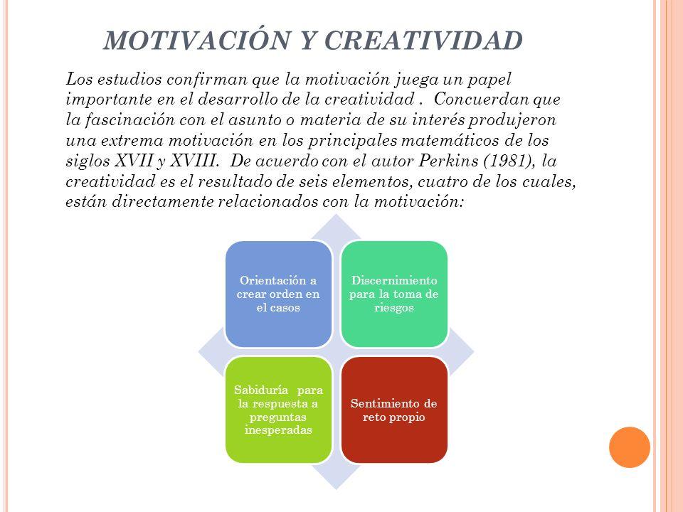 MOTIVACIÓN Y CREATIVIDAD Los estudios confirman que la motivación juega un papel importante en el desarrollo de la creatividad. Concuerdan que la fasc