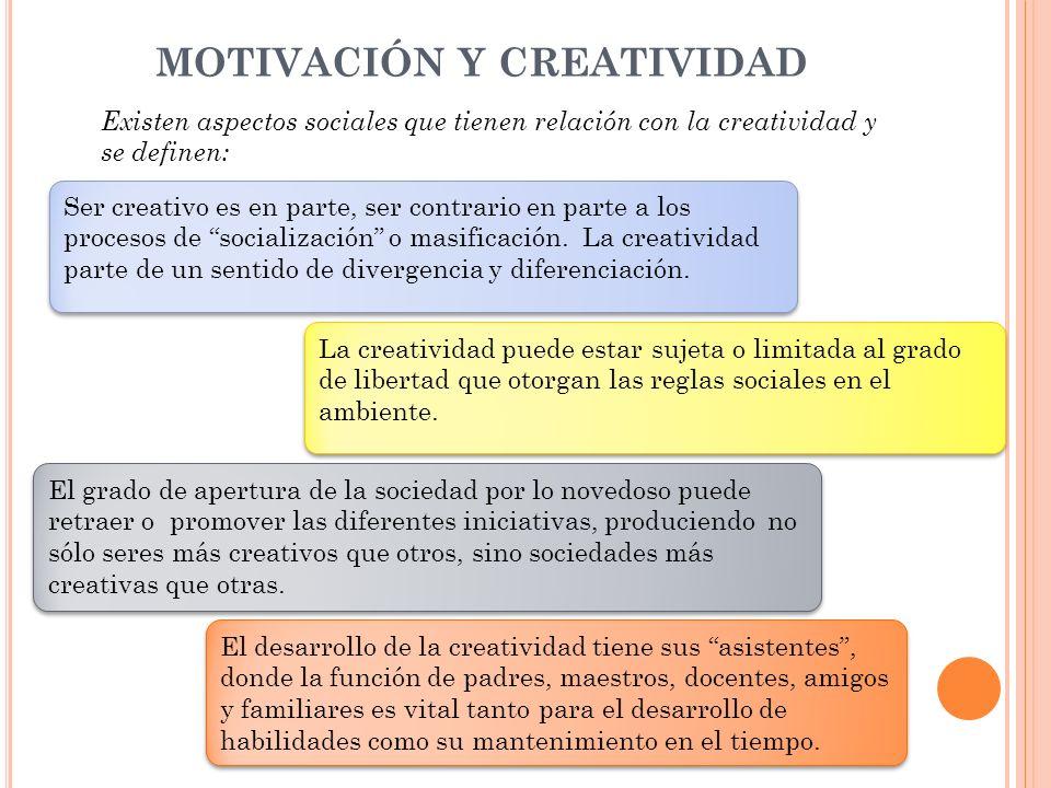 MOTIVACIÓN Y CREATIVIDAD Existen aspectos sociales que tienen relación con la creatividad y se definen: La creatividad puede estar sujeta o limitada a