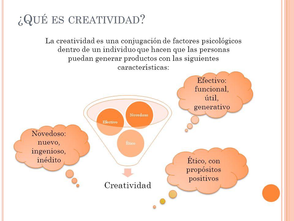 ¿Q UÉ ES CREATIVIDAD ? La creatividad es una conjugación de factores psicológicos dentro de un individuo que hacen que las personas puedan generar pro