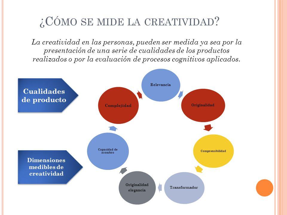 ¿C ÓMO SE MIDE LA CREATIVIDAD ? La creatividad en las personas, pueden ser medida ya sea por la presentación de una serie de cualidades de los product