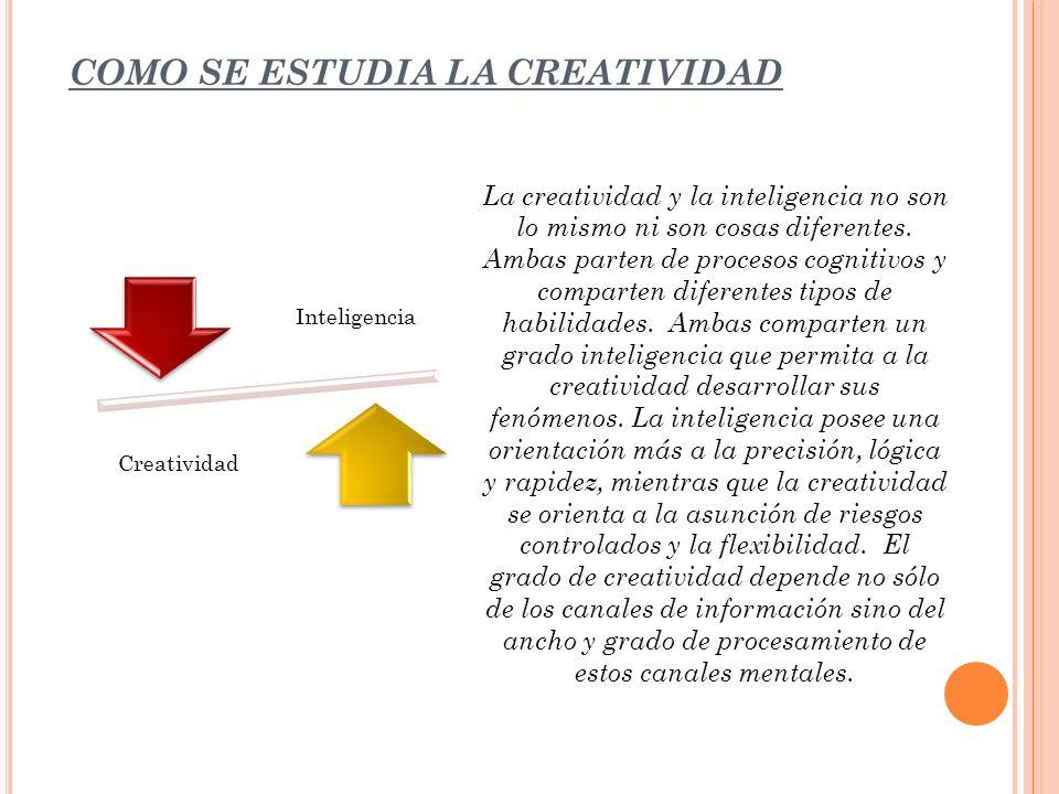 COMO SE ESTUDIA LA CREATIVIDAD La creatividad y la inteligencia no son lo mismo ni son cosas diferentes. Ambas parten de procesos cognitivos y compart