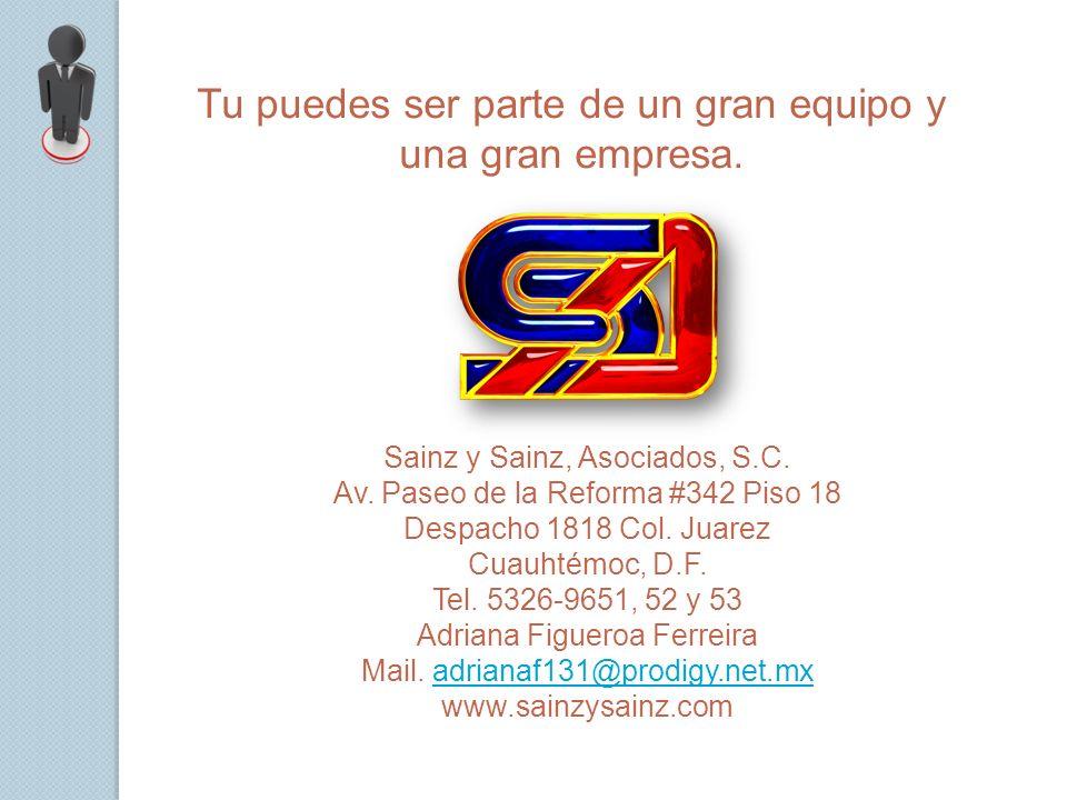 Tu puedes ser parte de un gran equipo y una gran empresa. Sainz y Sainz, Asociados, S.C. Av. Paseo de la Reforma #342 Piso 18 Despacho 1818 Col. Juare