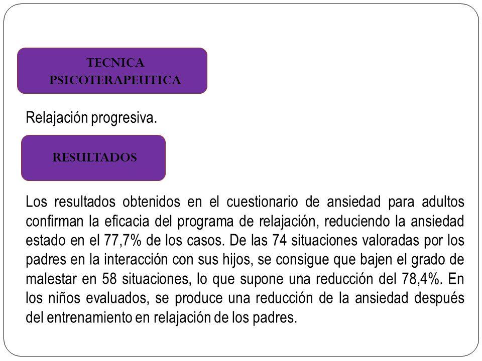 TECNICA PSICOTERAPEUTICA RESULTADOS Relajación progresiva.