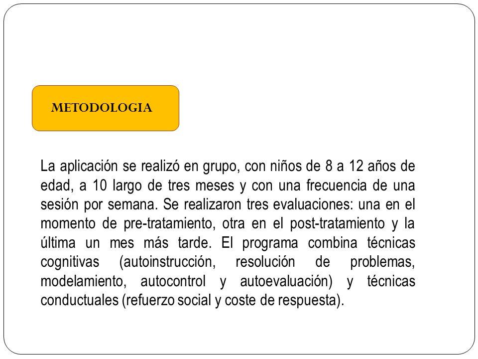 METODOLOGIA La aplicación se realizó en grupo, con niños de 8 a 12 años de edad, a 10 largo de tres meses y con una frecuencia de una sesión por semana.