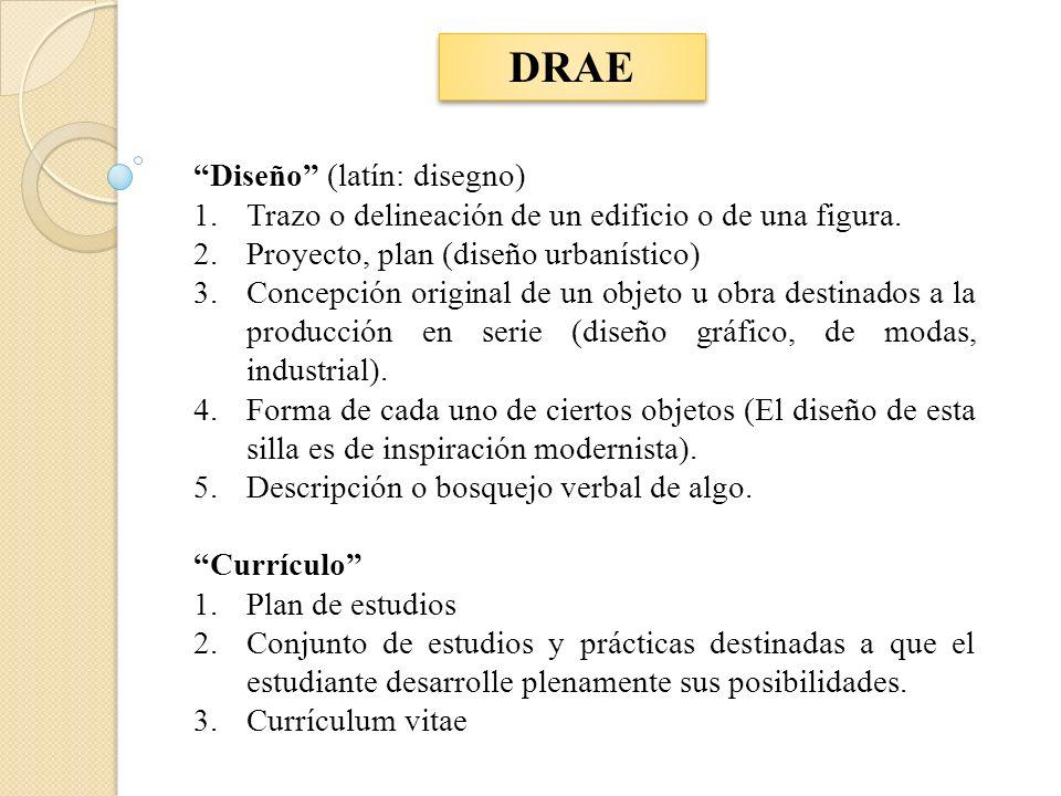DRAE Diseño (latín: disegno) 1.Trazo o delineación de un edificio o de una figura. 2.Proyecto, plan (diseño urbanístico) 3.Concepción original de un o
