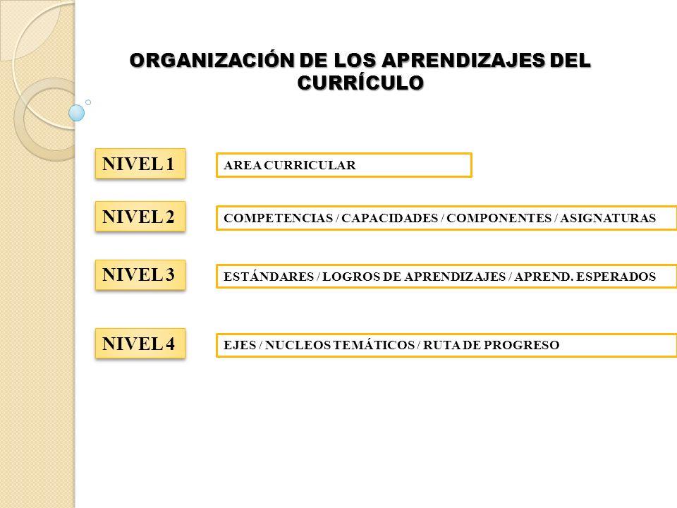ORGANIZACIÓN DE LOS APRENDIZAJES DEL CURRÍCULO NIVEL 1 AREA CURRICULAR NIVEL 2 COMPETENCIAS / CAPACIDADES / COMPONENTES / ASIGNATURAS NIVEL 3 ESTÁNDAR