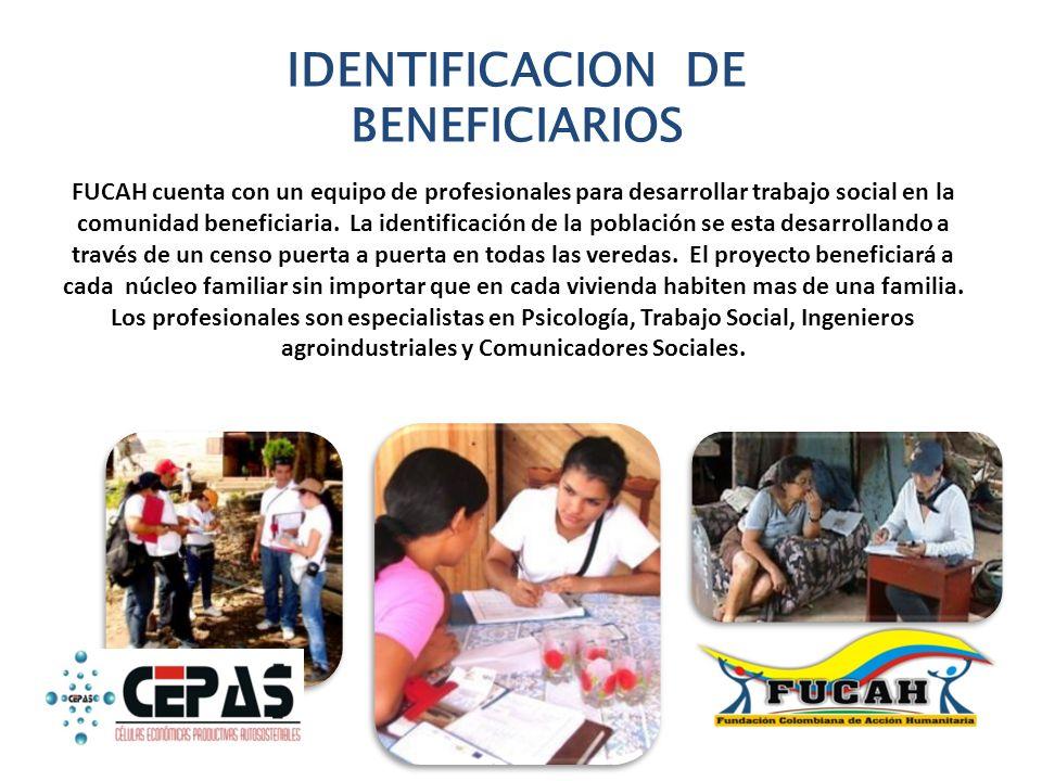 IDENTIFICACION DE BENEFICIARIOS FUCAH cuenta con un equipo de profesionales para desarrollar trabajo social en la comunidad beneficiaria. La identific