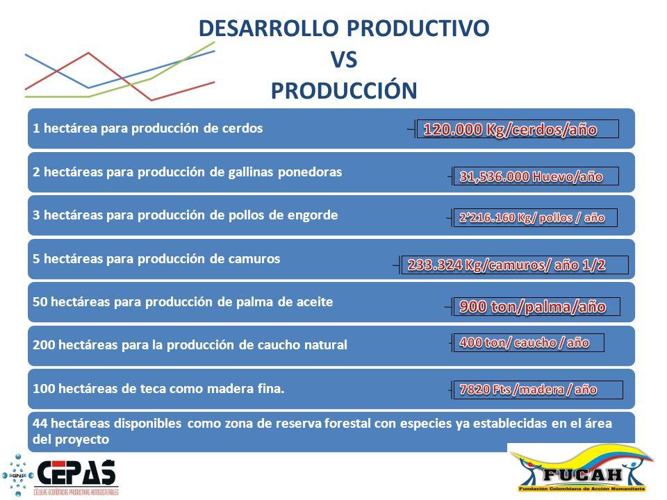 1 hectárea para producción de cerdos2 hectáreas para producción de gallinas ponedoras3 hectáreas para producción de pollos de engorde5 hectáreas para