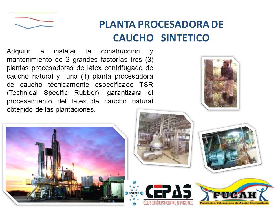 Adquirir e instalar la construcción y mantenimiento de 2 grandes factorías tres (3) plantas procesadoras de látex centrifugado de caucho natural y una