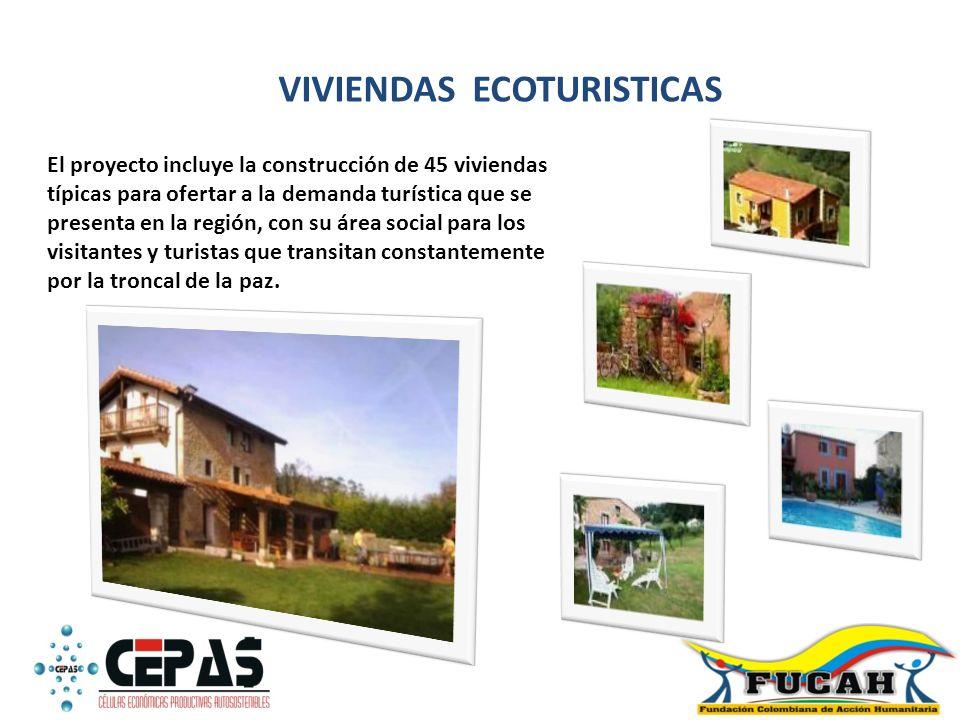 VIVIENDAS ECOTURISTICAS El proyecto incluye la construcción de 45 viviendas típicas para ofertar a la demanda turística que se presenta en la región,